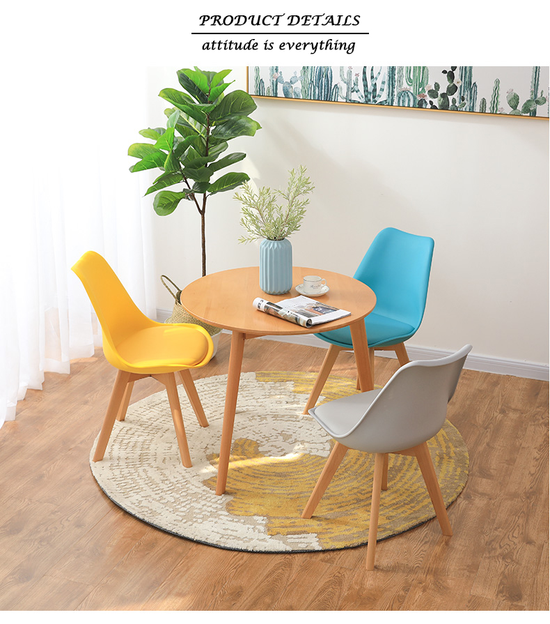wholesale cheap colored wood legs plastic dining room chair in low price