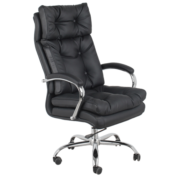 Black Leather Swiveling Office Chair S-360
