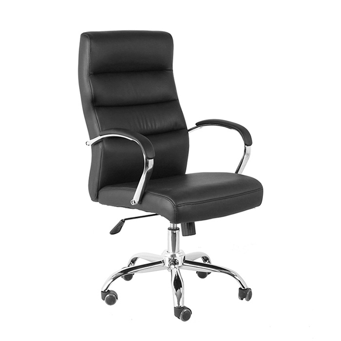 high back swivel black leather executive office chair on sale