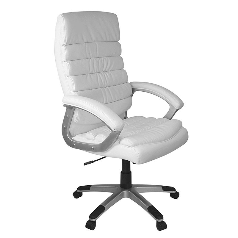 Modern Luxury white office leather executive desk chair specification rotate 360 degrees go up and down made in china